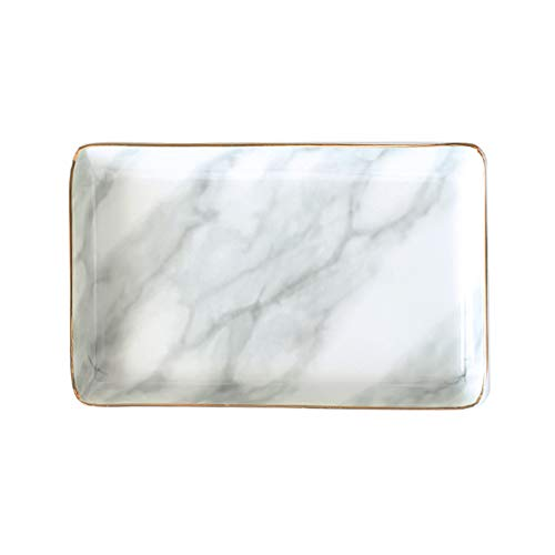Marble Ceramic Jewelry Tray Ring Dish Ring Holder Display Organizer with Golden Edged Wedding Valentine's Day Housewarming Gift (Grey(Large))