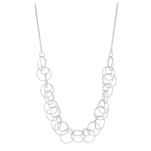 Rosemarie Collections Women's Diamond Cut Textured Circle Statement Necklace (Open Circle Link Necklace)
