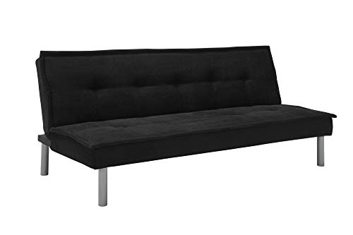DHP Kent Convertible Microfiber Couch Bed with Sturdy Metal Legs, 600 lbs, Small - Black