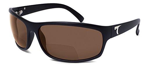 Typhoon Men's Harbor II Reader Lens Power Polarized Square Sunglasses, Matte Black, 720 mm - 720 Sunglasses