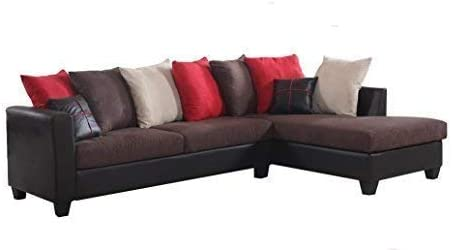 REALONE Fabric and Faux Leather Sectional Sofa and Chaise