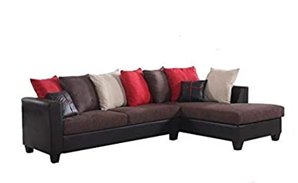 Amazon.com: REALONE Fabric and Faux Leather Sectional Sofa ...