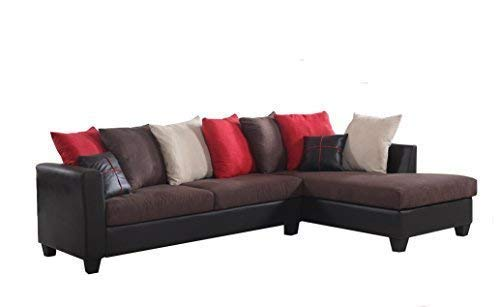 REALONE Fabric and Faux Leather Sectional Sofa and Chaise, Chocolate Brown Couch with Red, Beige and Brown Accent Pillows (Microsuede Sectionals)