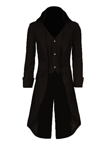Very Last Shop Mens Gothic Tailcoat Jacket Black Steampunk Victorian Long  Coat Halloween Costume (US Men-XL 9bd559b28