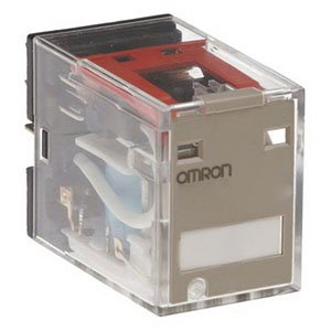 Omron MY2IN AC24 (S) General Purpose Relay, Standard Coil Polarity, LED Indicator and Lockable Test Button, Standard Type, Plug-in Socket/Solder Terminal, Double Pole Double Throw Contacts, 53.8 mA at 50 Hz and 46 mA at 60 Hz Rated Load Current, 24 VAC Rated Load Voltage