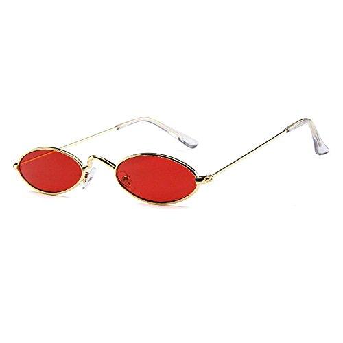 Ojo Gafas ovaladas Delgado Gato Sol de Hombres Marco Gold Fram de Metal de Metal ovaladas Gold de Gafas Mujeres Lens de FOONEE Sol pequeñas Metal de Retro Colores Lens Grey Caramelos Red Fram para tdzzPq