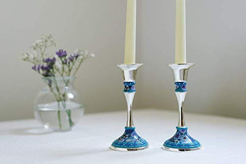 Candlesticks Holders, Handmade Shabbat Candlesticks of Nickel and Polymer Clay, Lovely Table Decoration great as Housewarming and Hostess Gift