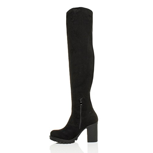 Suede The Zip Block Thigh Size Over Stretch Ajvani Womens Boots Heel Black Chunky Ladies Knee high Zf0Fpq