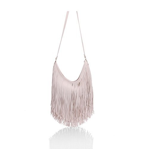 Ladies Shoulder CREAM Faux Leather Fashion Strap Fringe SIZE Handbags Womens Grab ONE Tassel K3 dwS6xS