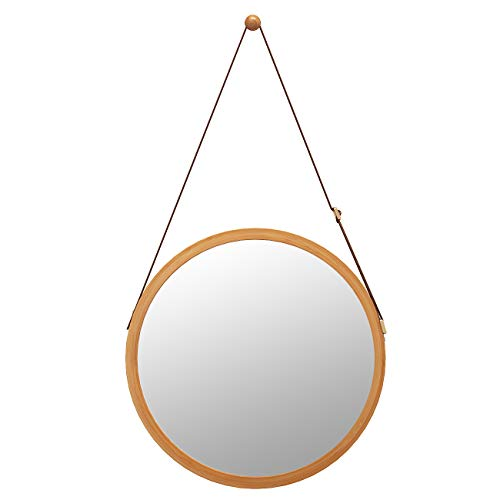 Domax Bathroom Mirror Wall Mount - 15 inch Bamboo Frame Hanging Strap Round Bedroom Dressing Mirror Hook Offered Natural Rustic(Bamboo, 14.96''x14.96''x0.59'') (Frames Leather Mirror)