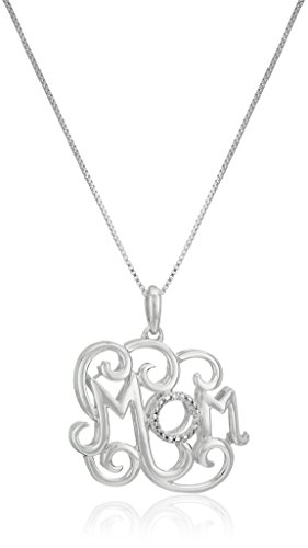 Sterling Silver Diamond Accent MOM Pendant Necklace, 18