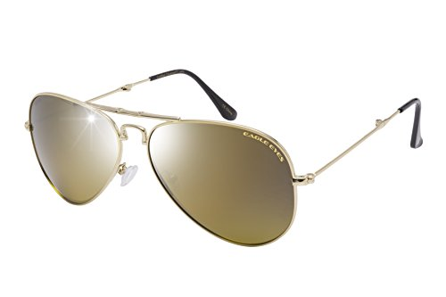 Eagle Eyes Foldable Aviator Sunglasses - Gold Flash Mirror Gradient Polarized Sunglasses in Gold, - Trust Can Sunglasses You