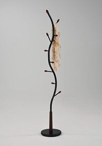 Simple Cherry Hall Tree (Black Metal Cherry Wood Hooks Hall Tree Coat Hat Rack)