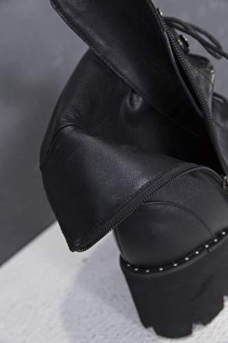 Botas Vestir Mujer Zapatos Tacon Cuero Ancho Negro Cordones Plataforma Botines Hebillas Biker Otoño Annieshoe De Bd80TB
