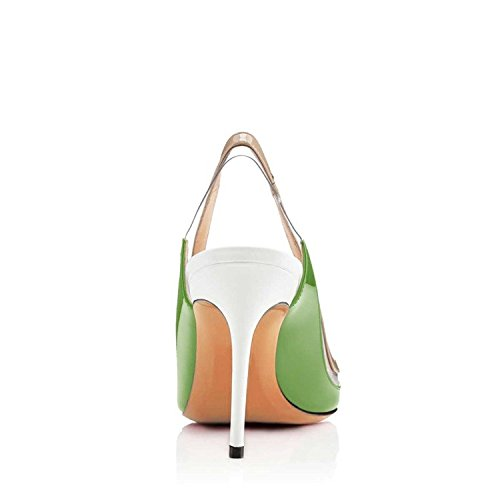 Sandals Sling Size Shoes US 12 Transparent Nancy Toe Back Jayjii Pumps Leather Pointed Green Genuine Women 4qxgSBwR8
