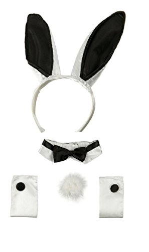 Bunny Costume For Adults (Playboy Bunny Black White Ears Collar Bowtie Cuffs Set)