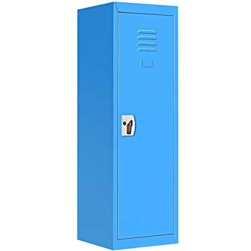 """48"""" H Blue Metal Kid Locker Storage Safe Children Cabinet Single Tier Lock Organizer w/Key with Ebook from NanaPluz"""