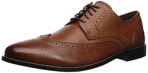 Nunn Bush Men Nelson Wing Tip Oxford Dress Casual Lace-Up, Cognac, 14