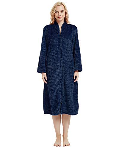 (LAPAYA Women's Fleece Robe Calf Length Long Sleeve Fluffy Plain Zip Front Bathrobe, Royal Blue, Tag Size XL=US Size Large)