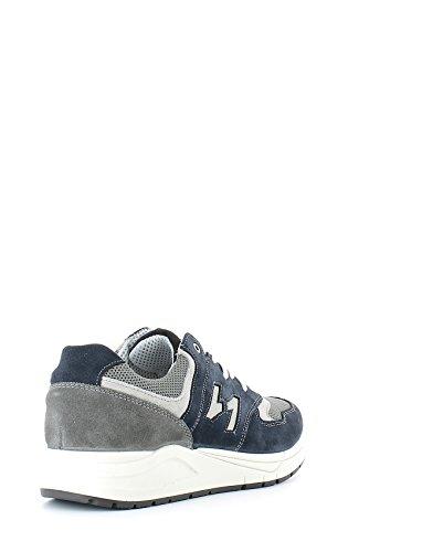 IGI & CO 57116 hombres grises las zapatillas de deporte del zapato de gamuza cordones de tela + Grigio-Blu