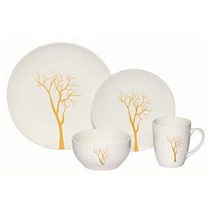 Melange Coupe 32-Piece Porcelain Dinnerware Set (Gold Tree) | Service for 8 | Microwave, Dishwasher & Oven Safe | Dinner Plate, Salad Plate, Soup Bowl & Mug (8 Each)