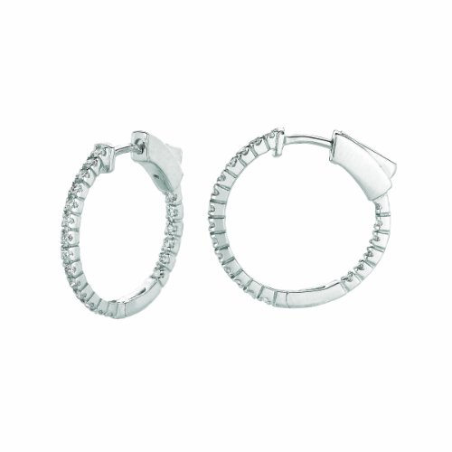 14K White Gold Hoop Earrings (patented snap lock) - 0.5ctw. Diamond