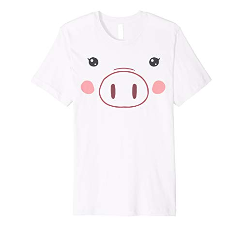 Pig Face T-Shirt | Funny Cute Animal Halloween Costume ()