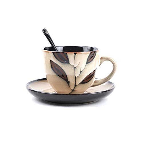 KLYHCHN Ceramic Coffee Cup Saucer Set Phnom Penh Cup Afternoon Tea Cup Juice and Milk Tableware Home Decor Tea Set Gift…
