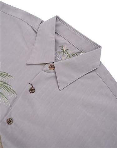 Bamboo Cay Mens Hurricane Palm Embroidered Casual Hawaiian Button Down Shirt