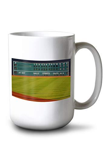 (Lantern Press Baseball Field Scoreboard Photography A-89887 (15oz White Ceramic Mug))