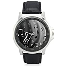Special Design Fashionable Music Notes Custom Unisex Stainless Steel Leather Strap Watch Metal Case, Tempered Glass, Black Leather Band