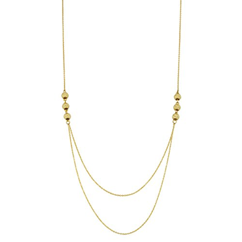 14k Yellow Gold Triple Bead Layer Necklace (18 inch) by Kooljewelry