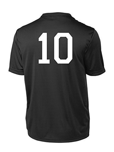 Performance Soccer Training Jersey, with Player Number on Back - size Adult M - color Black