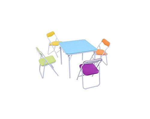 Kids 5 Piece Folding Table Chair Set Children Multicolor Play Room Furniture US Ship