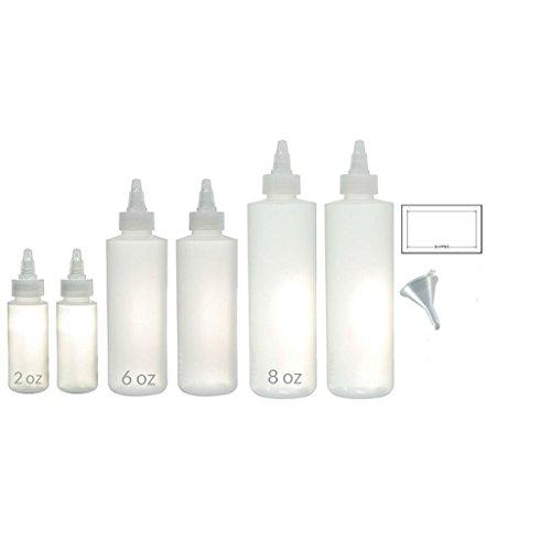 Twist Top Spout Natural Clear Refillable (BPA Free) Plastic Squeeze Bottle Set (6 pack) 2 oz, 6 oz, 8 oz + Funnel and Labels