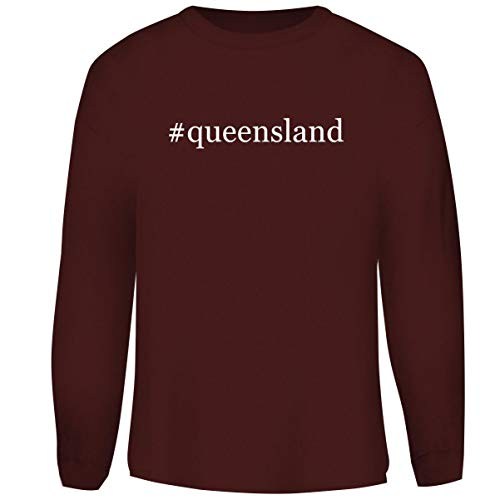 One Legging it Around #Queensland - Hashtag Men's Funny Soft Adult Crewneck Sweasthirt, Maroon, Large