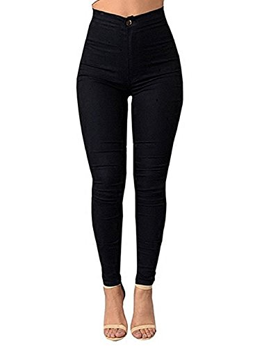 High Waisted Pants Ferbia Womens Stretchy Slim Fit Pencil Pants Ankle Length Trousers Black