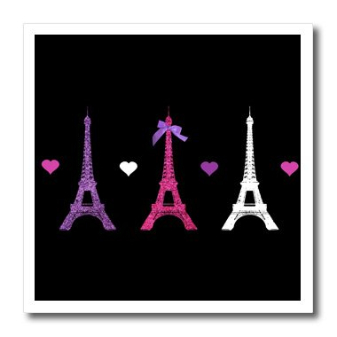 (3dRose ht_113151_3 Eiffel Tower Paris Towers Love Hearts Stylish French Modern France Iron on Heat Transfer for White Material, 10 by 10