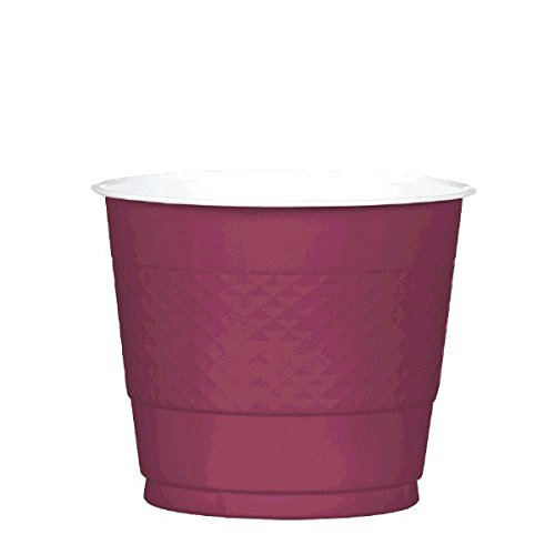 Reusable Party Cups Tableware, Berry Red, Plastic , 9 Ounces, Pack of 20