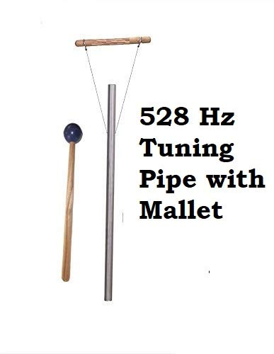 (Yantra 528 Hz Solfeggio Healing Tuned Pipe Louder Than Tuning Fork with Mallet and Hand Stand Shipping from USA)