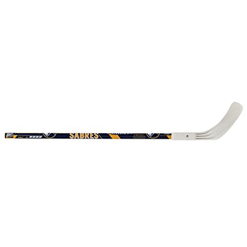 """Franklin Sports Buffalo Sabres Street Hockey Stick - 40"""" 2-Piece Wood Stick w/Blade - Right Shot - Ball Hockey - NHL Official Licensed Product"""