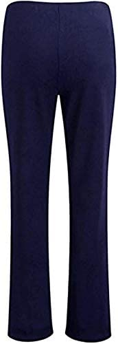 EKL Pack of 2 Ladies Trousers Women Boot Cut High Rise Stretch Soft Finely Ribbed Pull On Nurse Carer Work Bottoms Elasticated Waist Pants,Navy Blue/Pack of 2,26 UK / 27L