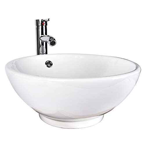- ELECWISH Bathroom Vessel Sink Ceramic Round Chrome Brass Faucet Combo with Overflow Porcelain Bowl 16.5inch Above Counter (Round Overflow)