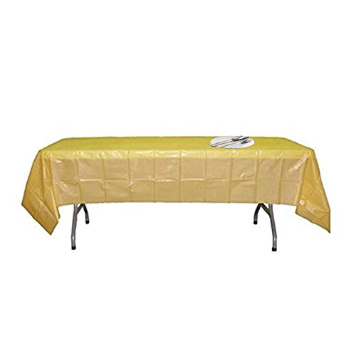 5 Pack Disposable Plastic Tablecloths Table Cloth Covers for Creative Party, 54 x 108 inches each(gold) by Salsell