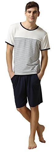 Fine Short Stripe (QianXiu Summer Short Sleeve Classic Stripes Pajama Set For Men,White,X-Large)