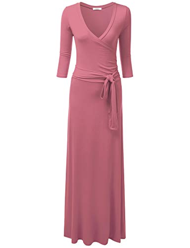 Crossover Front Dress - NINEXIS Women's V-Neck 3/4 Sleeve Crossover Maxi Dress with Waist Wrap, Mauve XL Plus Size