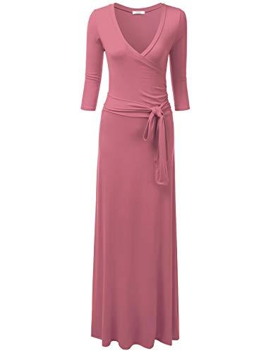 NINEXIS Women's V-Neck 3/4 Sleeve Waist Wrap Front Maxi Dress, Mauve 2XL Plus Size