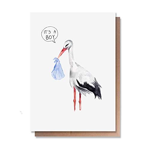Cute New-Born Baby Boy Card by Wunderkid - It's a Boy - Congratulations Stork (Kraft Envelope, Blank inside) (Congrats Message For New Born Baby Boy)