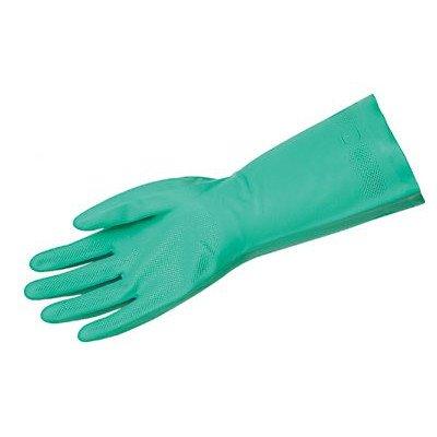 Unsupported Nitrile Gloves - size 10 green flock lined nitrile gloves 18mi [Set of 12]