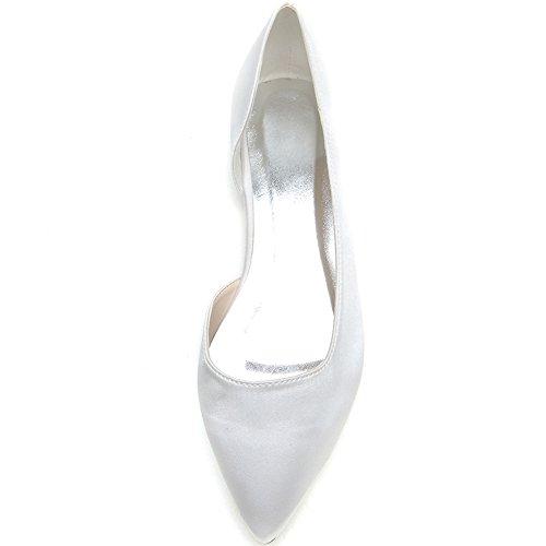 Loslandifen Scarpe Da Donna Eleganti Paillettes Scarpe Da Sposa Pionted Toe Scarpe Da Sposa Bianche Raso Satinato